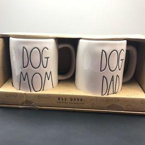Rae dunn dog mom and dog dad set of coffee mugs.